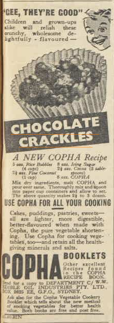 Chocolate Crackles Circa 1937